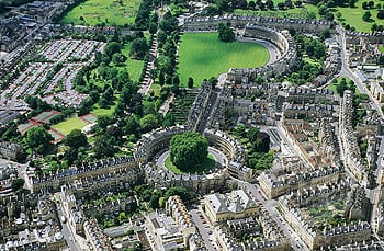 Great Britain, England, Bath, Royal Crescent and the Circus, aerial view