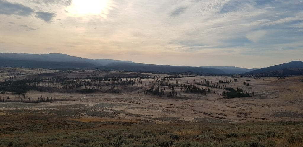 View from lookout points along the northeast Grand Loop Road of Yellowstone