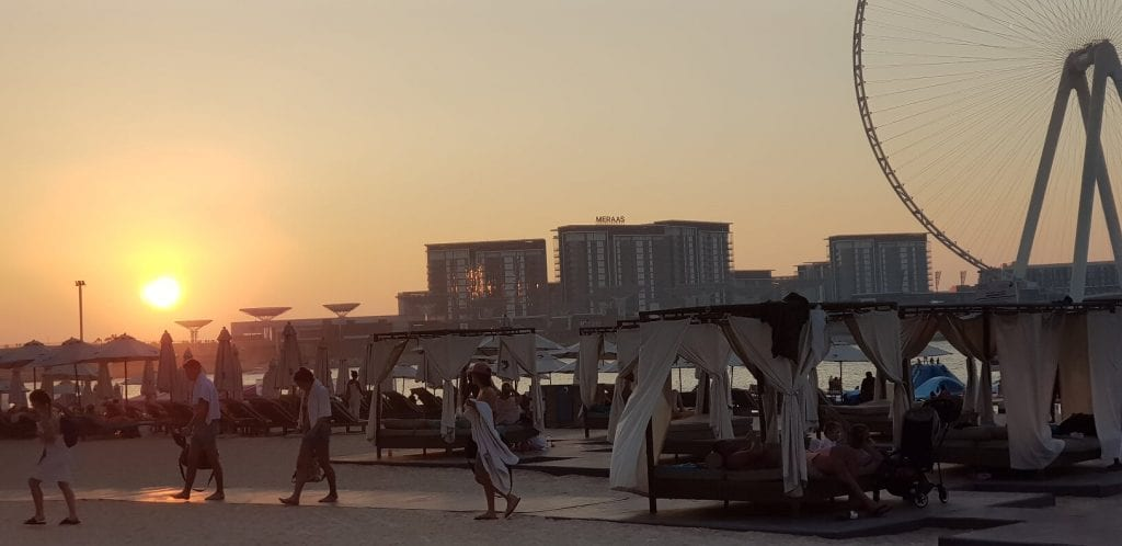 JBR beach sunset Dubai