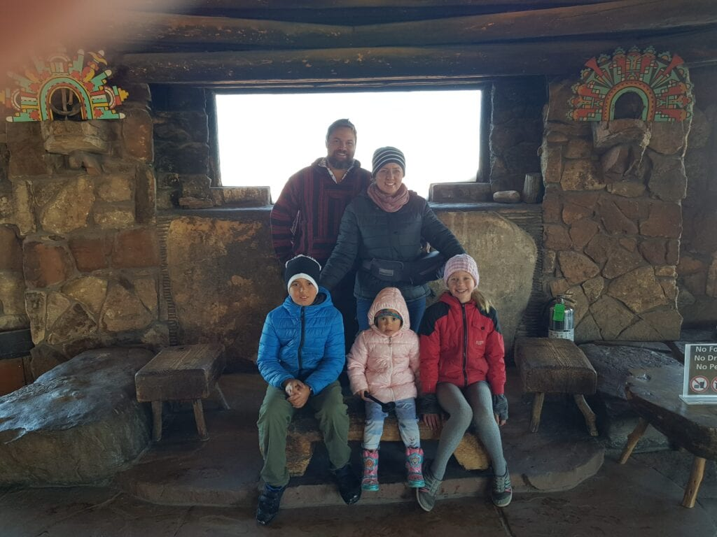 Familytravelexplore at theWatchtower at the Grand Canyon